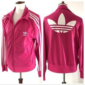 Adidas Pink Full Zip Striped Track Jacket Retro L